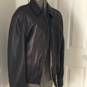 Soft Brown Leather Men's Jacket by Chaps
